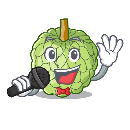 Singing fresh custard apple sweet fruit cartoon vector illustration