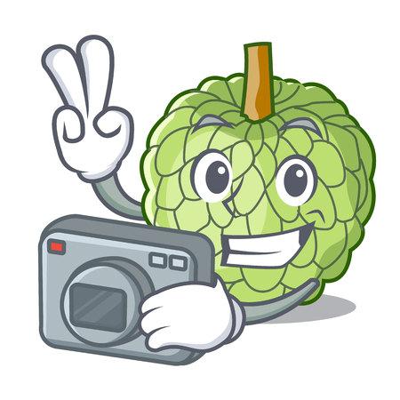 Photographer fresh custard apple sweet fruit cartoon vector illustration Illustration