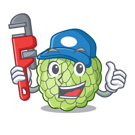 Plumber ripe sugar apple fruit on mascot vector illustration