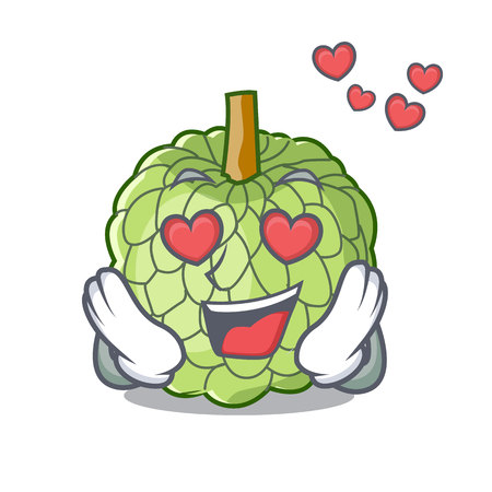 In love fresh custard apple sweet fruit cartoon vector illustration