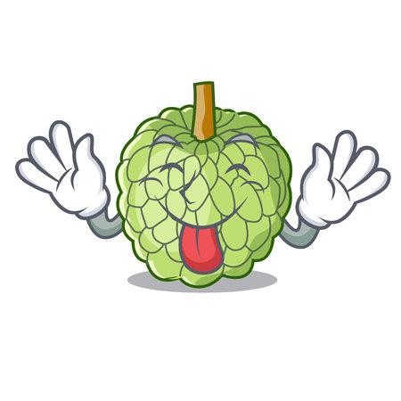 Tongue out ripe sugar apple fruit on mascot vector illustration Illustration