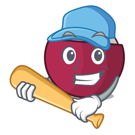 Playing baseball character tropical mangosteen isolated on cartoon vector illustration Vettoriali