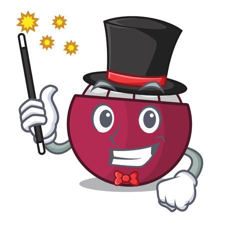 Magician fresh ripe mangosteen isolated on mascot vector illustration