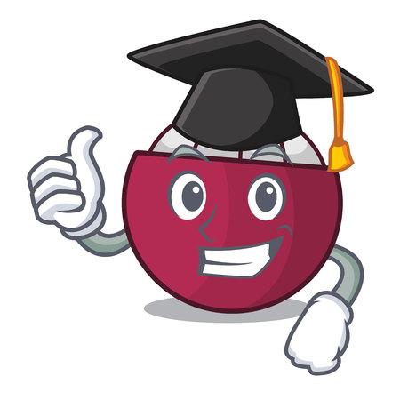 Graduation mangosteen fruit on wood table cartoon vector illustration