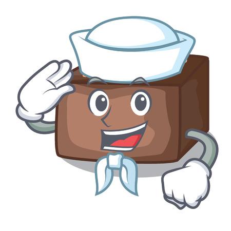Sailor character cartoon almond cake with caramel vector illustration