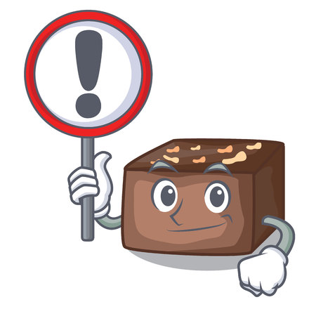 With sign character cartoon almond cake with caramel vector illustration