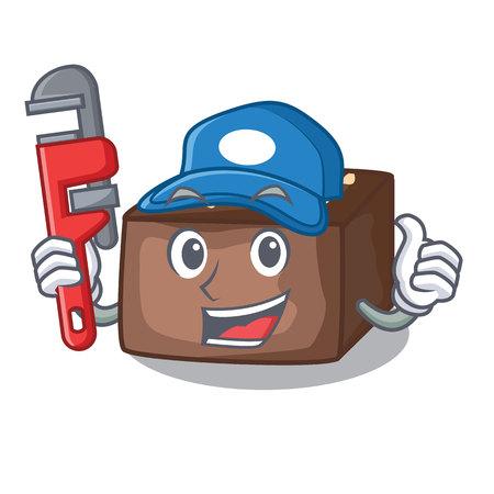 Plumber slice almond chocolate cake isolated on mascot vector illustration Illustration