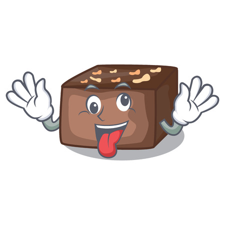 Crazy slice almond chocolate cake isolated on mascot vector illustration