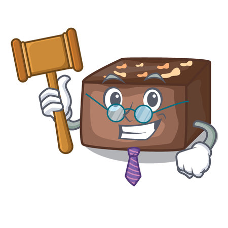 Judge slice almond chocolate cake isolated on mascot vector illustration