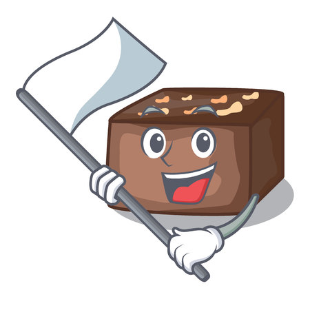 With flag slice almond chocolate cake isolated on mascot vector illustration