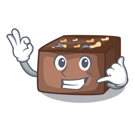 Call me slice almond chocolate cake isolated on mascot vector illustration Illustration