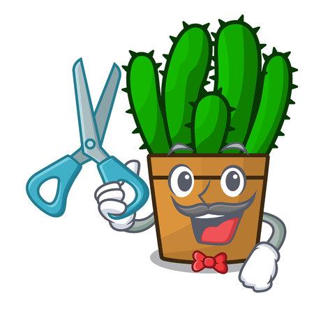 Barber spurge cactus in a flowerpot cartoon