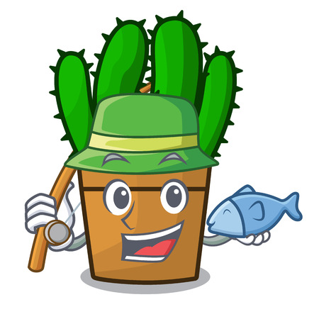 Fishing spurge cactus plant isolated on mascot vector illustration