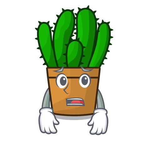 Afraid spurge cactus plant isolated on mascot vector illustration