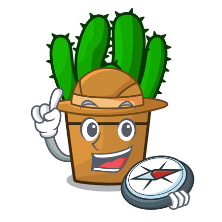 Explorer spurge cactus plant isolated on mascot vector illustration Illustration