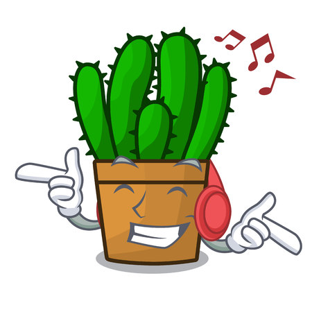 Listening music spurge cactus plant isolated on mascot vector illustration