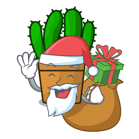 Santa with gift the beautiful spurge cactus plant cartoon vector illustration  イラスト・ベクター素材