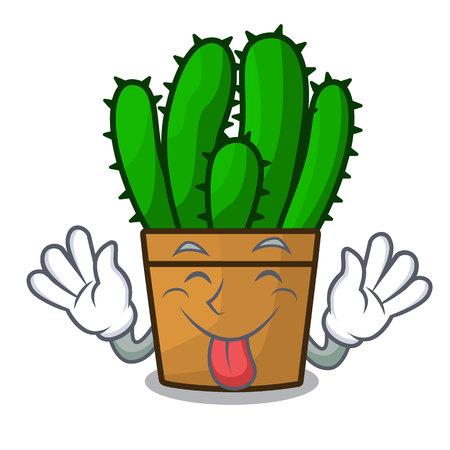 Tongue out the beautiful spurge cactus plant cartoon vector illustration