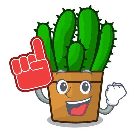 Foam finger the beautiful spurge cactus plant cartoon vector illustration
