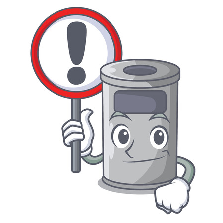 With sign steel trash can with lid cartoon vector illustration