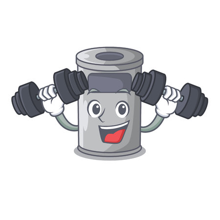 Fitness steel trash can with lid cartoon vector illustration