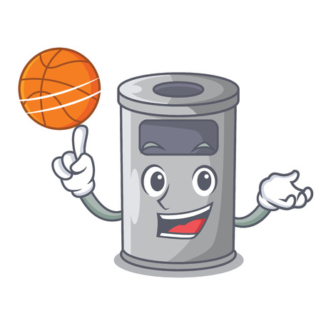 With basketball steel trash can with lid cartoon vector illustration