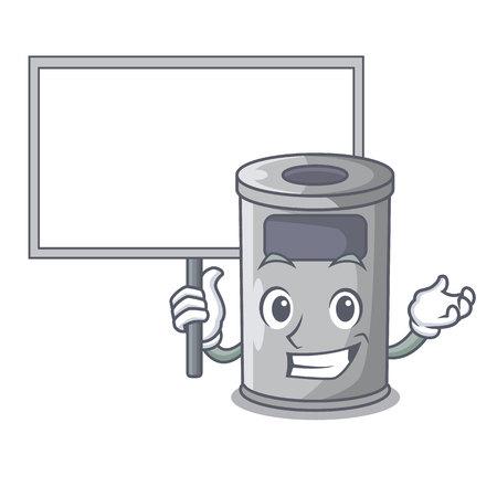 Bring board steel trash can with lid cartoon vector illustration