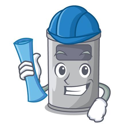 Architect cartoon steel trash can in the door vector illustration