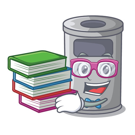 Student with book cartoon steel trash can in the office vector illustration