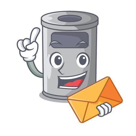 With envelope cartoon steel trash can in the door vector illustration 向量圖像