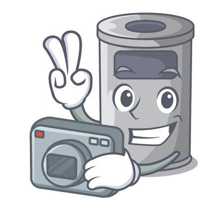 Photographer cartoon steel trash can in the room vector illustration