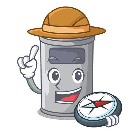 Explorer cartoon steel trash can in the room vector illustration Vettoriali