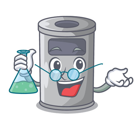 Professor cartoon steel trash can in the door vector illustration