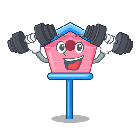 Fitness cartoon little bird house in spring vector illustration