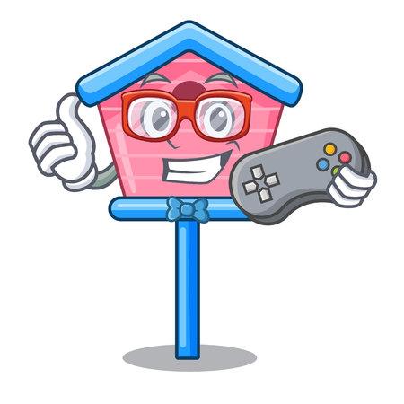 Gamer wooden bird house on a pole cartoon vector illustration