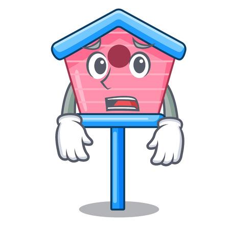 Afraid wooden bird house on a pole cartoon vector illustration