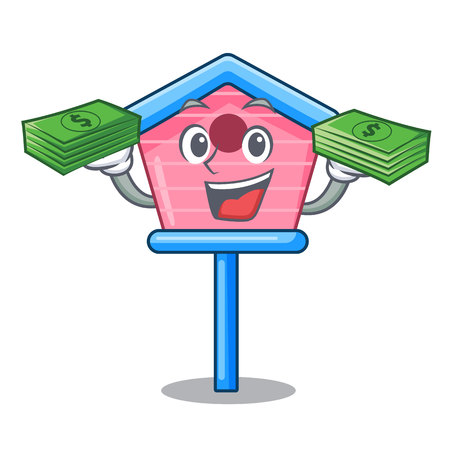With money wooden bird house on a pole cartoon vector illustration