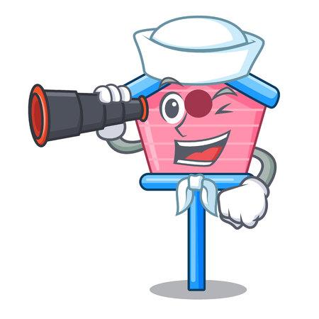 Sailor with binocular wooden bird house on a pole cartoon vector illustration Illustration