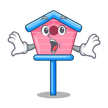 Surprised wooden bird house on a pole cartoon vector illustration