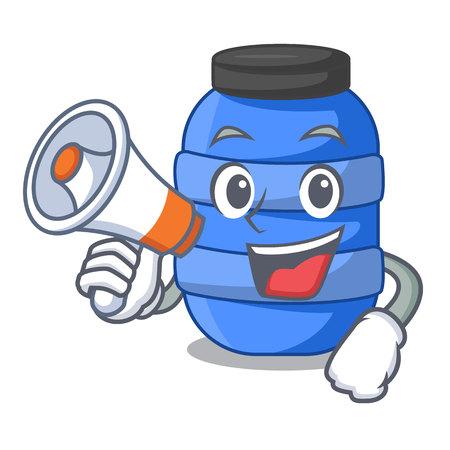 With megaphone large cartoon plastic barrel for water vector illustration