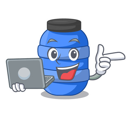 With laptop large cartoon plastic barrel for water vector illustration