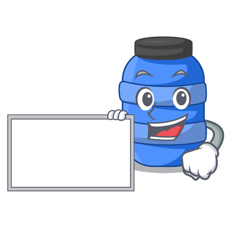 With board large cartoon plastic barrel for water vector illustration