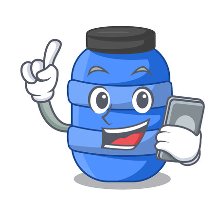 With phone large cartoon plastic barrel for water vector illustration