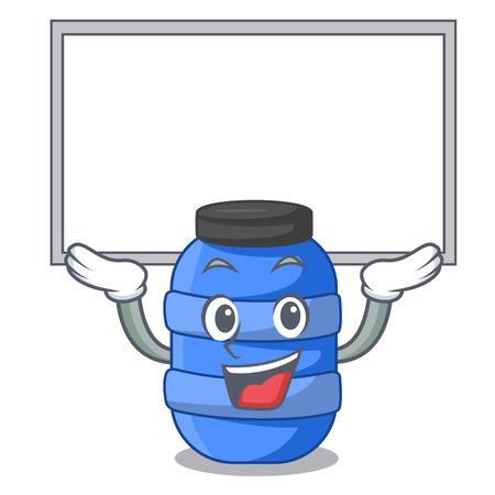 Up board large cartoon plastic barrel for water vector illustration Illustration