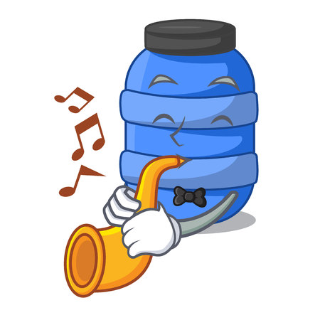With trumpet cartoon plastic barrel for trash dry vector illustration