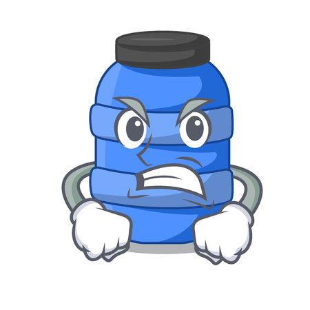 Angry cartoon plastic barrel for trash dry vector illustration Çizim