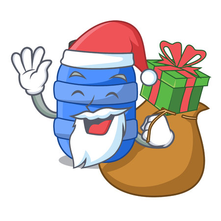 Santa with gift plastic barrel container for fish cartoon vector illustration