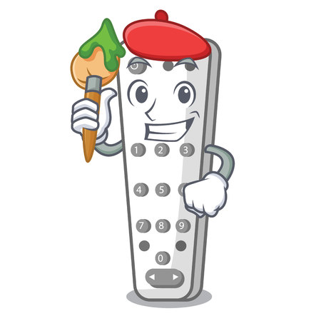 Artist character remote control for media center vector illustration