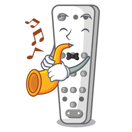 With trumpet cartoon remote control from TV device vector illustration Illustration