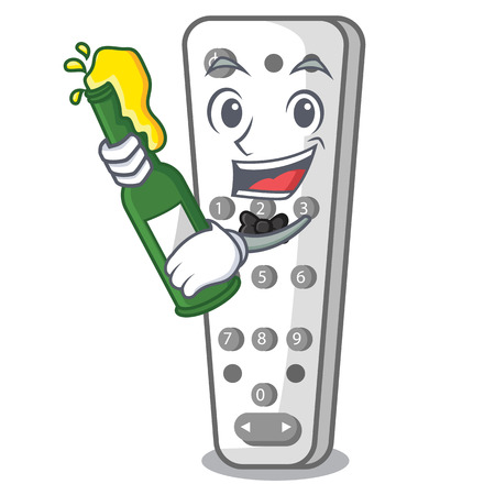 With beer cartoon remote control of air conditioner vector illustration Illustration
